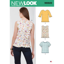 Bluse m/flæse New Look snitmønster 6622
