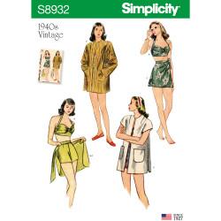 1940èrne Bikinitop shorts og skørt snitmønster