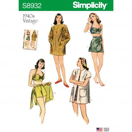 1940èrne Bikinitop shorts og skørt Simplicity snitmønster 8932