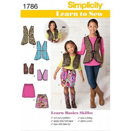 Vest og nederdel 2 varianter fås i 2 strsimplicity snitmønster