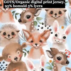 Dyrebørn på lysblå bund Jersey Digital print metervare