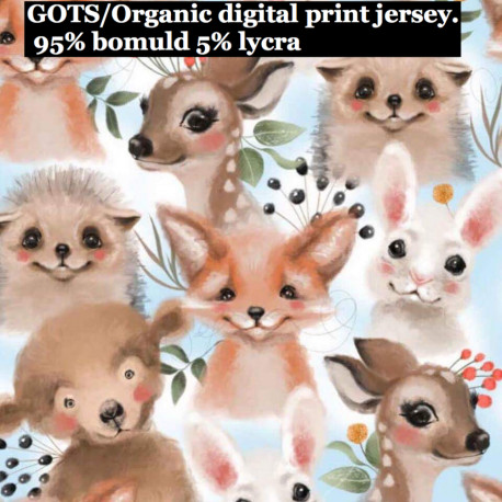 Dyrebørn på lysblå bund Digital print metervare