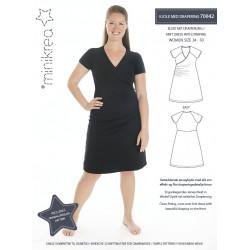 Kjole m/drapering også plusmode Minikrea snitmønster
