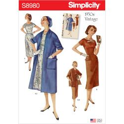 1950`vintage Kjole og frakke Simplicity snitmønster 8980