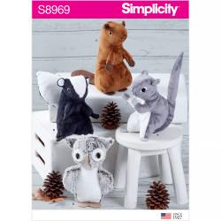 Tøjdyr ugle bæver egernSimplicity snitmønster 8969