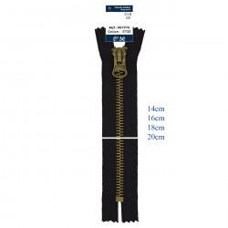 8mm metal lynlås ikke delbar, Sort, kæde og vedhæng i antik messing