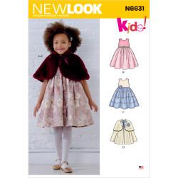Pige kjole og Cape New look snitmønster 6631