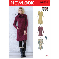 Dame kjole og tørklæde New look snitmønster 6632