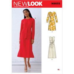Dame kjole m/binde effekt New look snitmønster 6633