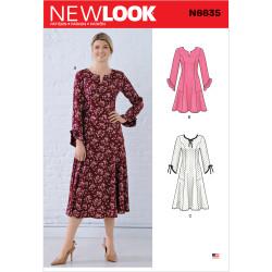 Dame kjole i baner New look snitmønster 6635