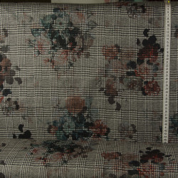 Prince of Wales Tern m/blomst Vinter jersey metervare 77 % Polyester 20 % Viscose 3 % Elasthan