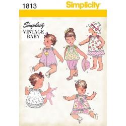 Vintage Babykjole, baby dragt og bøllehat snitmønster