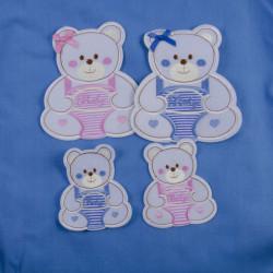 Hvid Bjørn med sløjfe strygemærke 13x14,5 cm