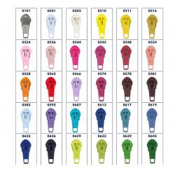 6mm glider i 60 farver til Spiral lynlås i metermål