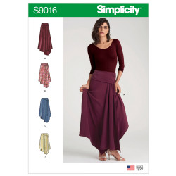 Asymetrisk nederdel også plusmode Simplicity snitmønster 9016