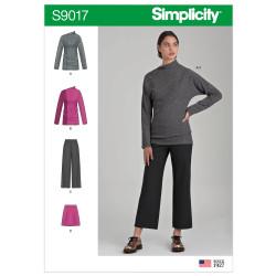 Bluse og bukser også plusmode Simplicity snitmønster 9017