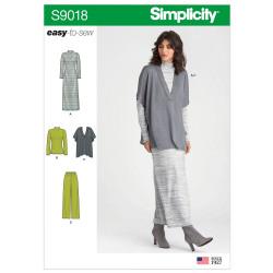 Bukser kjole og tunika Simplicity snitmønster 9018 A easy