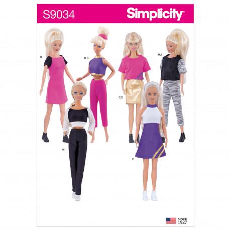 Barbietøj Simplicity snitmønster 9034 OS