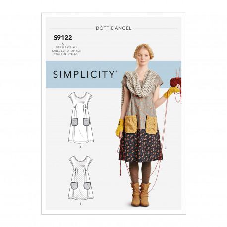 Kjole og Tunika snitmønster Simplicity 9122