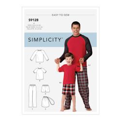 Hjemmesæt pyjamas far /søn Snitmønster 9128 Simplicity