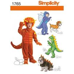 Dinosaurusdragt, kostume, til børn og små hunde snitmønster