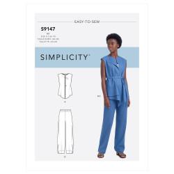 Bukser og bluse også plusmode snitmønster 9147 Simplicity