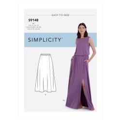 Bluse og nederdel m/slids også plusmode snitmønster 9148 Simplicity