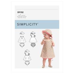 Babykjole og bøllehat snitmønster 9152 Simplicity