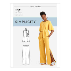 Bluse og bukser m/slids snitmønster easy 9051 Simplicity