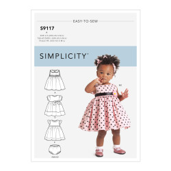Babykjole og hårbånd snitmønster easy 9117 Simplicity