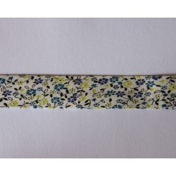 Skråbånd,Hvid m/Grøn/Blå blomst, 18mm
