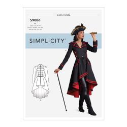 Viktoriansk frakke voksen kostume snitmønster 9086 Simplicity
