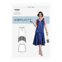 Charlestonkjole voksen kostume snitmønster 9088 Simplicity