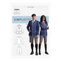 Engelsk skoleuniform kostume voksen snitmønster 9094 Simplicity