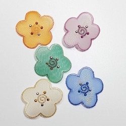 Blomst m/sten strygemærke Ø 4,5 cm