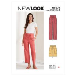 Bukser og shorts m/høj talje snirmønster New Look 6674