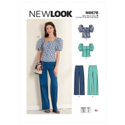 Bukser og bluse m/pufærme snitmønster New Look 6678