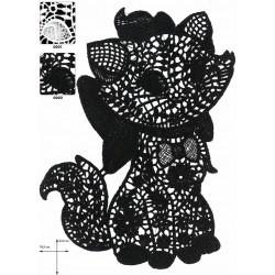 Hæklet kat til påsyning 16x25 cm hvid eller sort