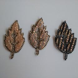 Blad m/sten og perler hotfix 3,5x6 cm
