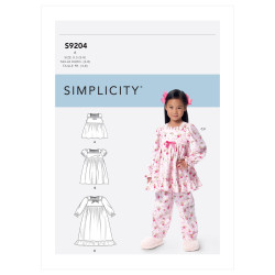 Natkjole og pyjamas til piger Simplicity snitmønster 9204 A