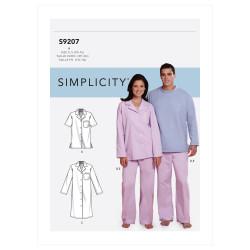 Natskjorte og pyjamas Simplicity snitmønster 9207 A