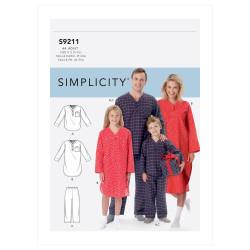 Nattøj til hele familien Simplicity snitmønster 9211
