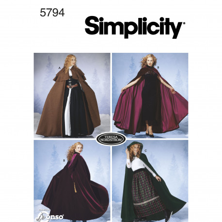Kappe voksen kostume simplicity snitmønster 5794