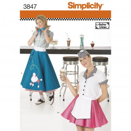 Servitrice voksen kostume Simplicity Snitmønster 3847