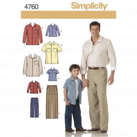 Skjorte og bukser far og søn Simplicity snitmønster 4760