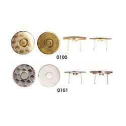 Tynd Magnet lås rund 18 mm i guld eller sølv