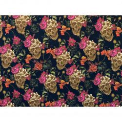 Digital print Dødningehoved m/blomst metervare