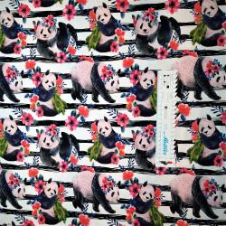 Panda m/blomster og striber jersey metervare