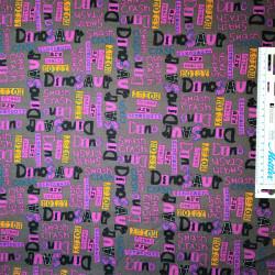 Grå/brun bund m/sort/pink tekst bomuld