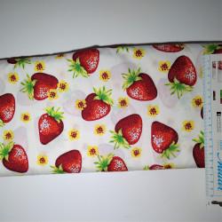 Jordbær råhvid bund bomuld